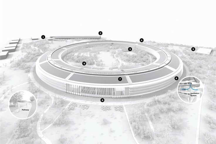 1. 丘の上の劇場(Hilltop Theater) 1,000人収容の「スティーブ・ジョブズ シアター」。高さ約6m・直径約50mのガラスの筒と、金属のような炭素素材の屋根からなる。/2. 駐車場 地下駐車場のほうが高くつくため地上と地下の収容台数を入れ替えた。/3. 免震構造 リングは地震に耐えるよう大きな鉄の免震アイソレーターの上に載っている。約1.4mまでならどの方向に動いても建物内の主要機能は損なわれない。/4. タイル張りのトンネル 全長約230m。デザインチームの承認前にコーナー部のプロトタイプが試作された。/5. ウェルネス設備 ウェイトルームと2階建てのヨガルームのほか、約9,300平方メートルのフィットネス&ウェルネス・センターで医療サーヴィスを受けられる。/6. 呼吸する建物 F1カーのエアフローを視覚化する専門家と共同開発。リングはキャノピー下端から外気を取り入れ、煙突に似た役目のシャフトを通じて外部に排出。/7. ソーラーシステム…