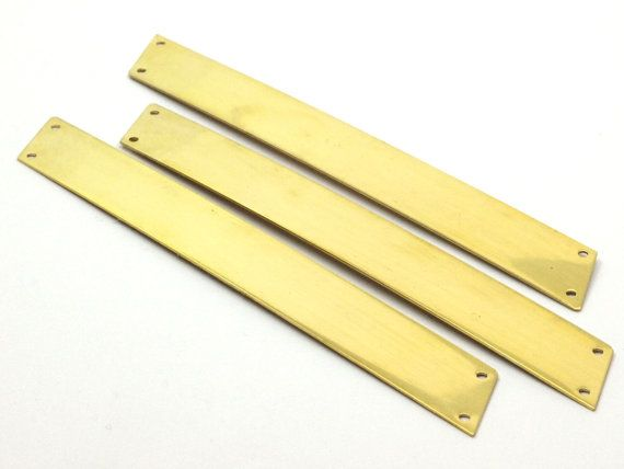 3 Raw Brass Parallelogram Blanks Extra Long Bars With 4 Holes