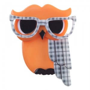 Waldo the Wacky Wise Owl (Orange Resin  Brooch)