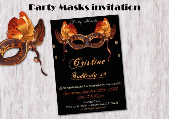 Invitation Adult PARTY MASKS Special Birthday by BolleBluParty