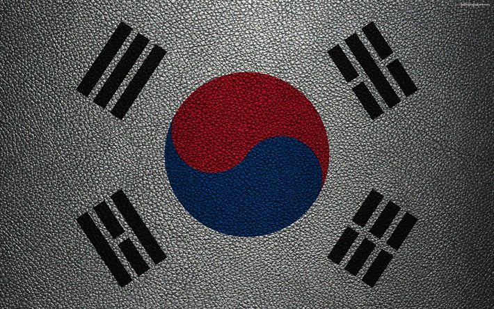 Download wallpapers Flag of the Republic of Korea, 4K, leather texture, Korean flag, Asia, world flags, Republic of Korea, South Korea