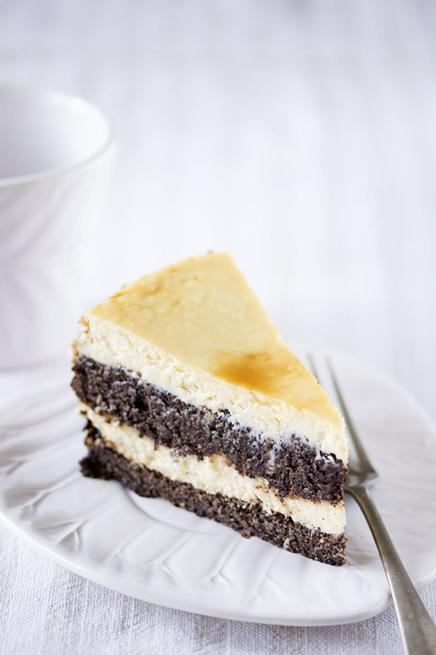 poppy seed cheesecake with coffee syrup