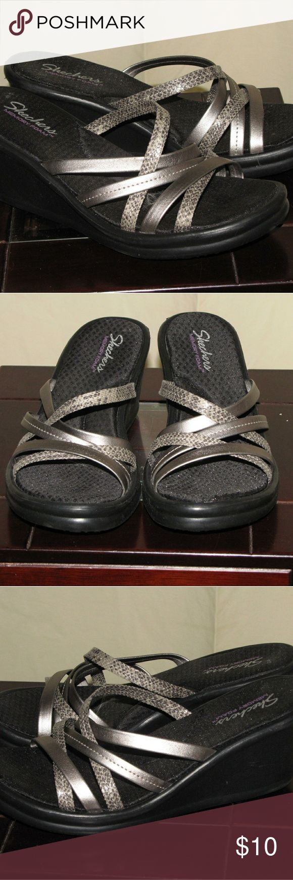 SKECHER SLIP ON WEDGE SANDLES Versatile strapoy silver shechers Skechers Shoes Sandals