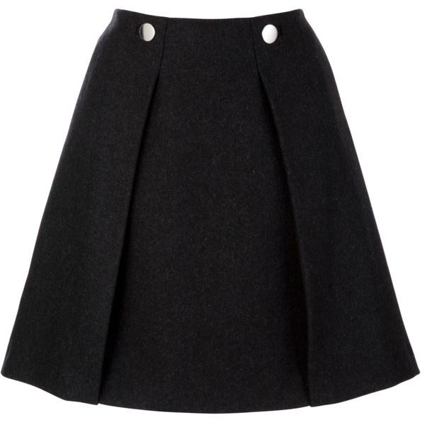 Tara Jarmon A-Line Button Skirt, Slate Grey ($135) ❤ liked on Polyvore