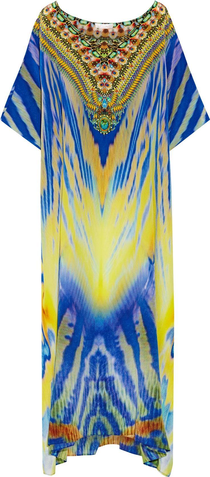 Camilla Franks Meltemi Breeze embellished printed silk-crepe kaftan.