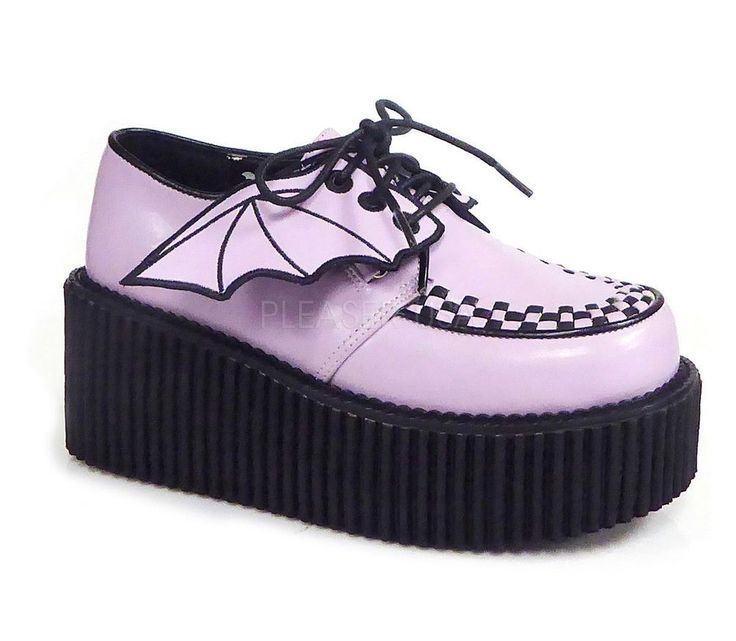 Demonia Platform Creeper With Bat Wings Detail Lavender Vegan Leather