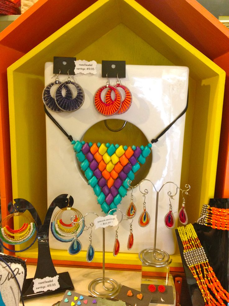 Colourful timber beads triangle necklace... love this!