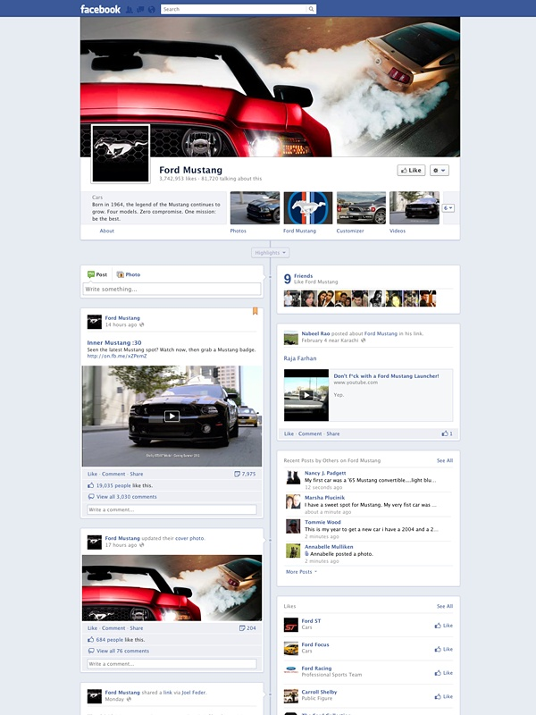 Ford Mustang - Amazing Facebook Timeline Brand Pages