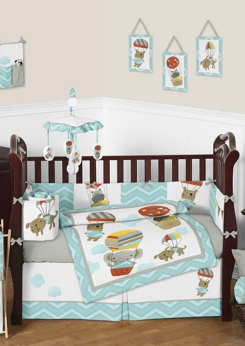 hot air balloon and animal buddies chevron baby bedding set by sweet jojo deisgns is perfect
