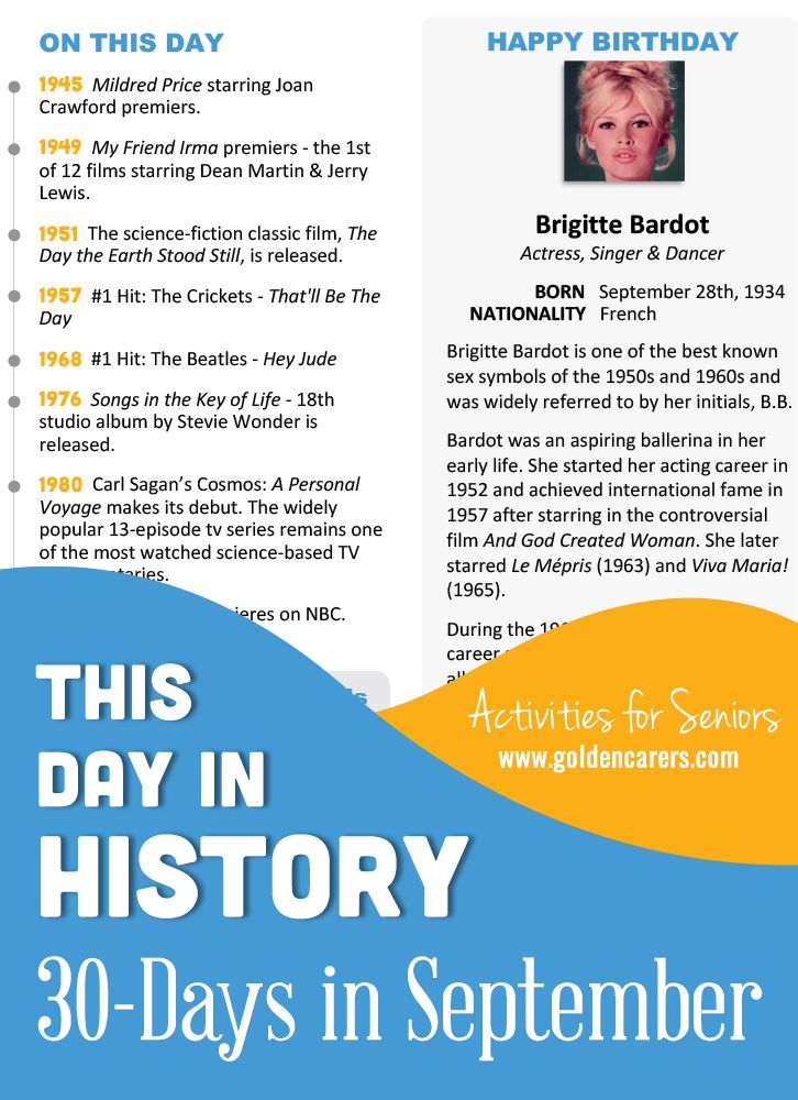This Day in History for <b>Seniors</b>: September in 2018 | month ...