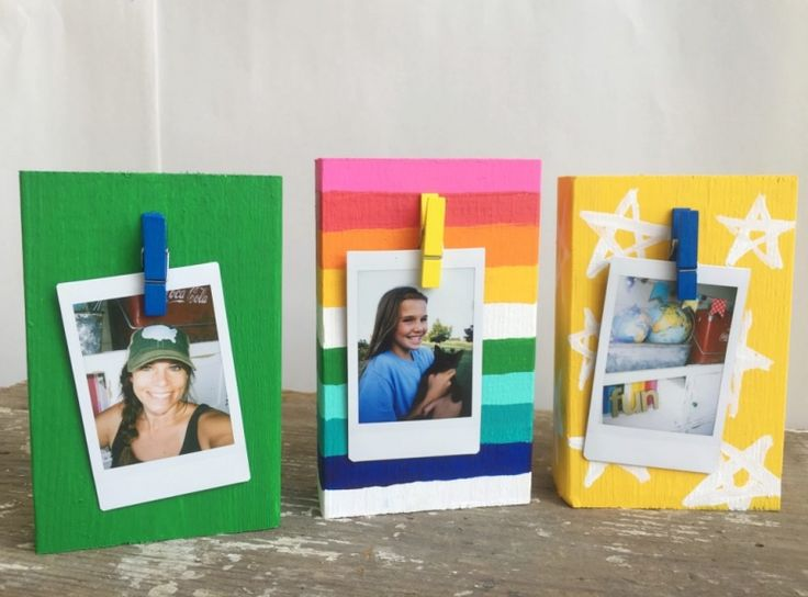 colorful wood block frames for photos