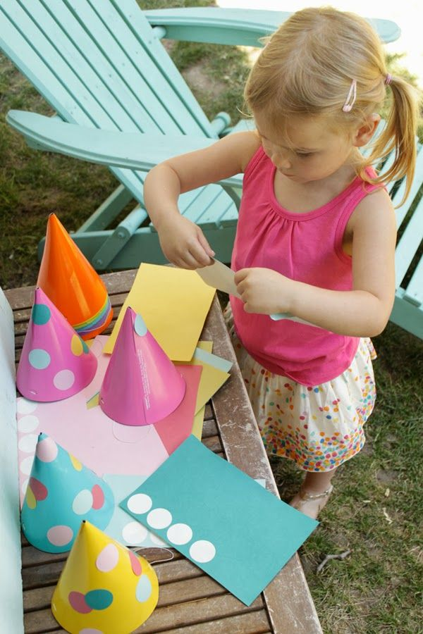 Party hat station - fun way to keep the kids entertained at a birthday party.