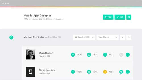 job listings search results, filters, icons