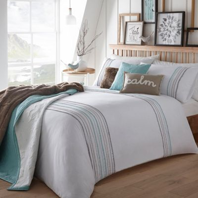 Debenhams White 'Bobble' striped bedding set- at Debenhams.com