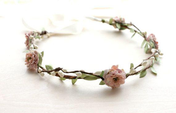 Dusty Rose Floral Crown Wedding, Flower Crown. Woodland,summer, dusty rose, pink floral crown, Boho, Bridal, Hair Accessories, on Etsy, $45.00