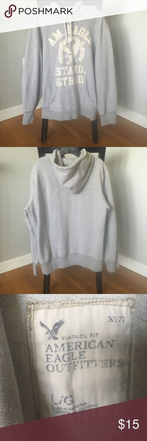 Mens gray American eagle sweatshirt size L Mens American Eagle brand gray hoodie with white graphic on front size large. Very comfortable and in great condition! American Eagle Outfitters Tops Sweatshirts & Hoodies