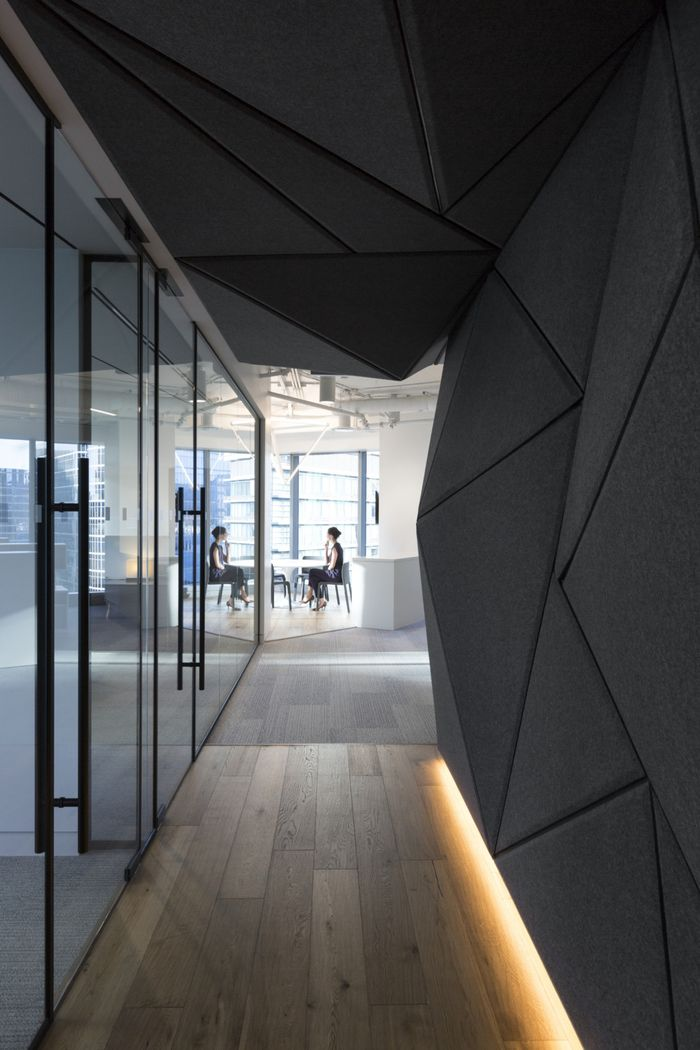 i like the idea of incorporating a texured wall to the space that has some good acoustic properties - Commercial Office Design Ideas