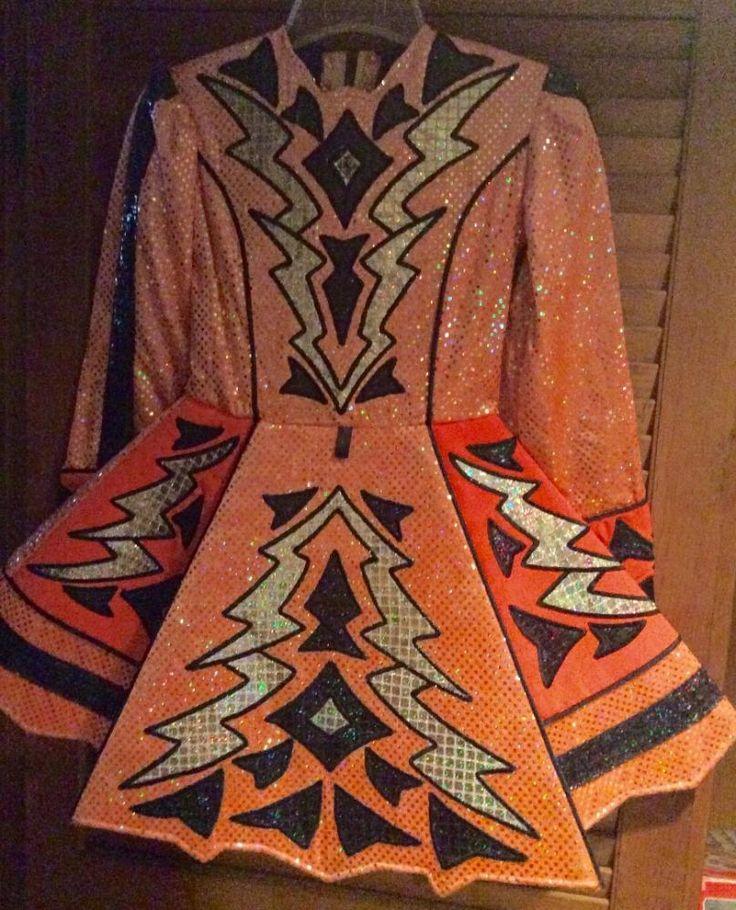 Glamorous Orange Paul Keith Irish Dance Dress Solo Costume For Sale