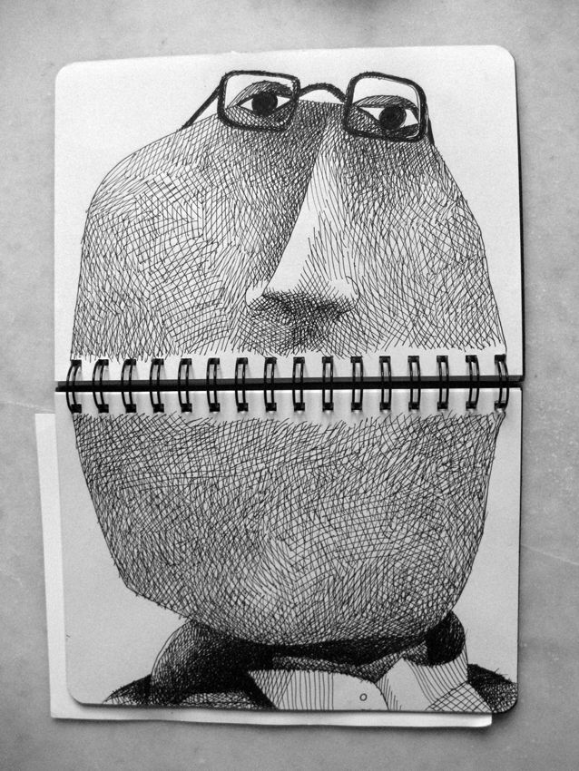February 18-21 2014 Francesco Chiacchio. The spine of your sketchbook is now a mouth. Use textures lines and creativity to complete this. Yes. Use contrast.