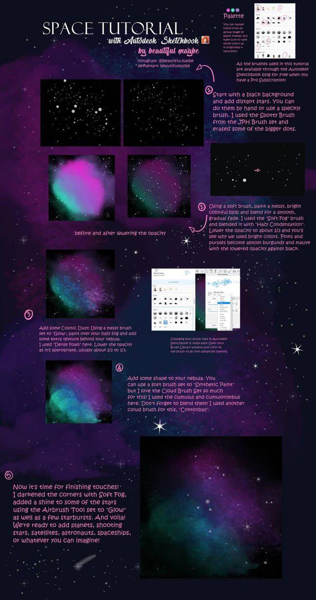 Space Tutorial In Autodesk Sketchbook By Beautifulmaybe Autodesk Sketchbook Tutorial Digital Art Beginner Digital Art Tutorial