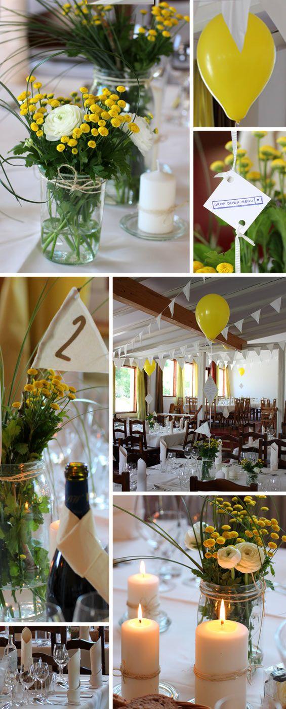 Landhochzeit Tischdekoration in Gelb