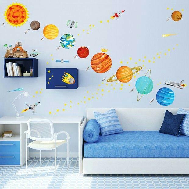 Bricolage enfant chambres carte du système solaire planètes du système solaire autocollants de garderie autocollants de mur stickers muraux