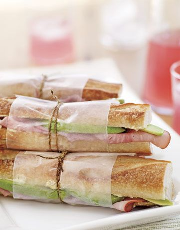 Avocado Ham Sandwich  Let the mild, nutty flavor of avocados stand in for Swiss cheese in a classic ham sandwich. Slather baguettes with a buttery mustard spread, then stuff with avocado and slices of smoky ham.