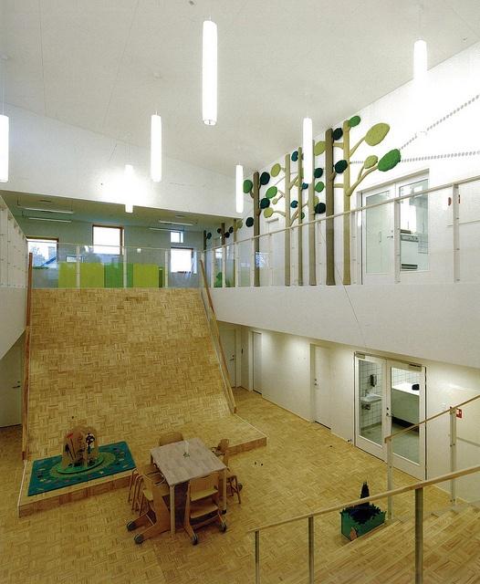 Dragen House uses this internal atrium ramp for the children to play on.  School ArchitectureInterior ...