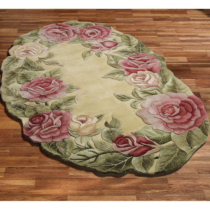 roses oval rug - Oval Area Rugs