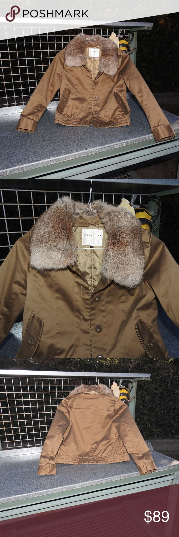Lowrys Farm Tan Jacket with Fur Collar Sz Medium Lowrys Farm Tan Jacket with Fur Collar Sz Medium Lowrys Farm Jackets & Coats
