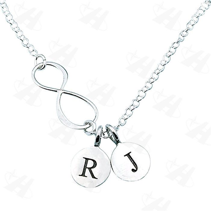 Custom Personalized INF Initial Tiny Discs Pendant Necklace for Women