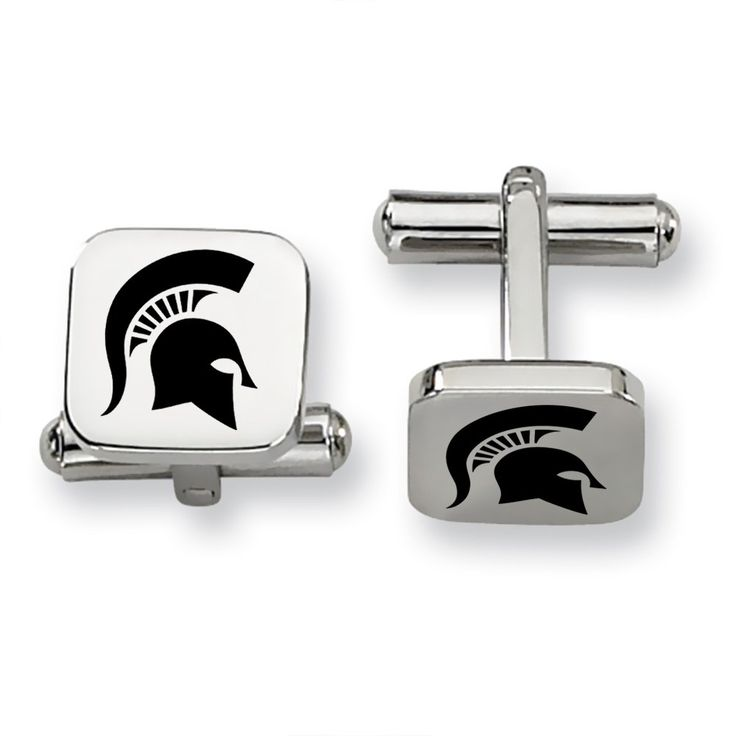 Michigan State MSU Spartans Stainless Steel Square Cufflinks. Officially Licensed. Solid Stainless Steel. Cuff Link Top Measures 13mm Square. Raised Carbon Logo Application. Michigan State University Spartans Cufflinks.
