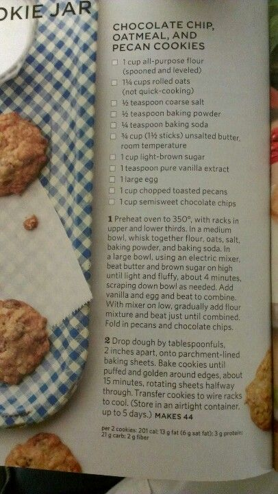 Chocolate chip oatmeal and pecan cookies | Desserts: Cookies, Cakes ...