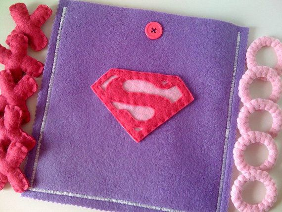 Felt Tic Tac Toe - Supergirl Game - Girls Birthday present - READY TO SHIP