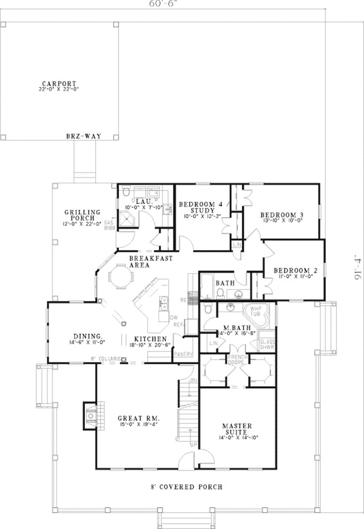 Home Plans  Square Feet, 4 Bedroom 3 Bathroom Farmhouse Home With Wrap  Around Porch But Garage Instead Of Carport