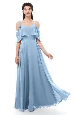 26ee67a5aa6 ColsBM Jamie Dusty Blue Bridesmaid Dresses Floor Length Pleated V-neck Half  Backless A-line Modern