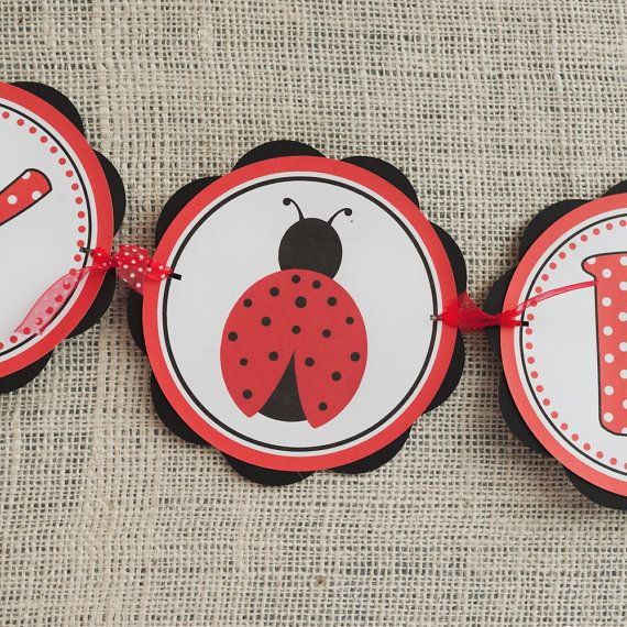 Ladybug Theme HAPPY BIRTHDAY Banner Birthday by getthepartystarted, $25.50
