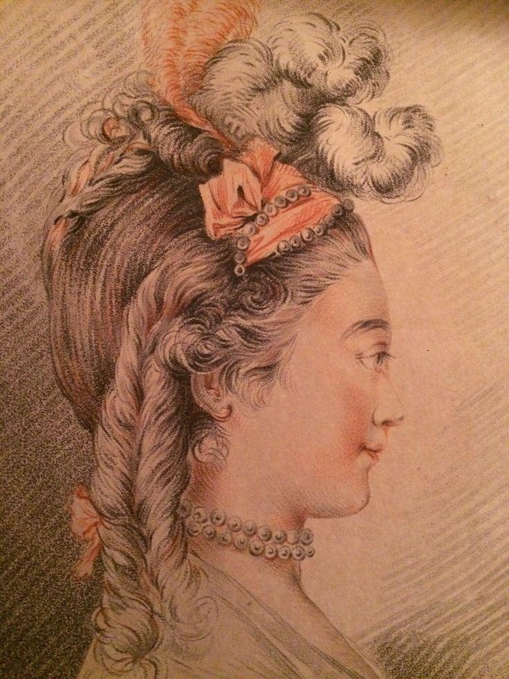 Galerie Nord: Tête de femme coiffée d'un turban panaché, gravée par Louis-Marin Bonnet. Planche aux trois crayons, vers 1770.