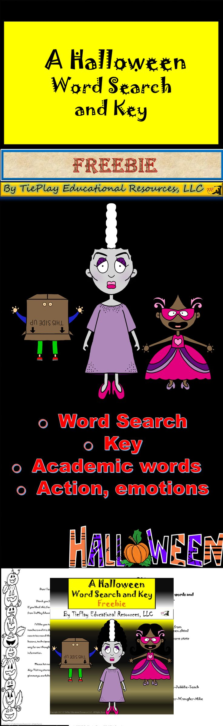 FREE: A Halloween Word Search allows students to find key words specific to the holiday. This word search is targeted for upper elementary and middle school students.  Happy Halloween!