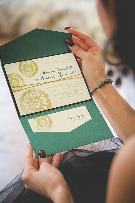 Elegant Emerald Shimmer Hand Stamped Vintage Custom Pocketfold Invitation Set, Steampunk Wedding, Etsy Weddings on Etsy, $7.30
