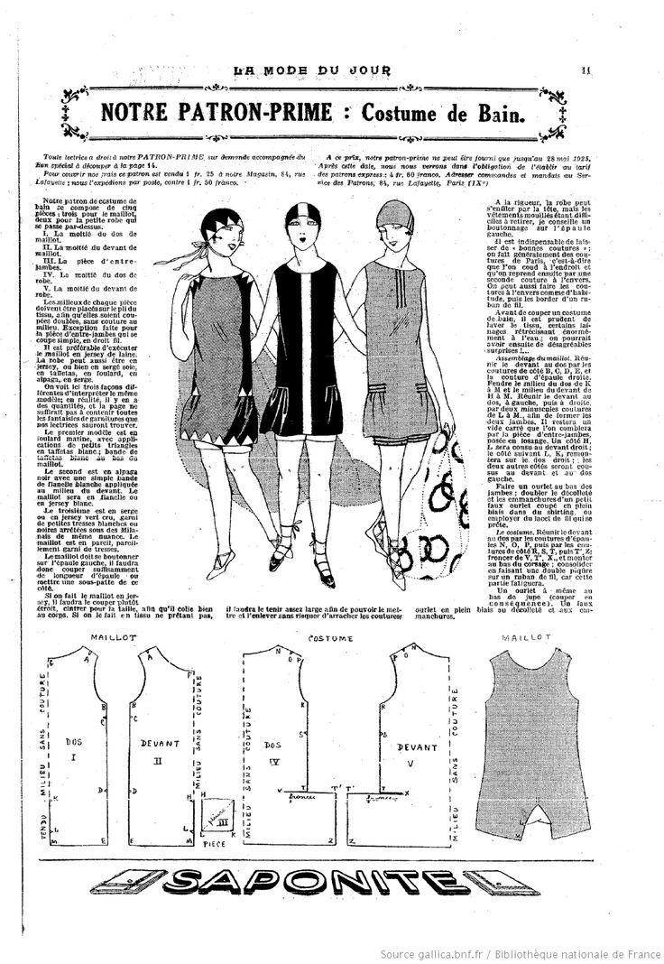 "COSTUME DE BAIN in""La Mode du jour"". 1925/5/21. Source : BnF Gallica"