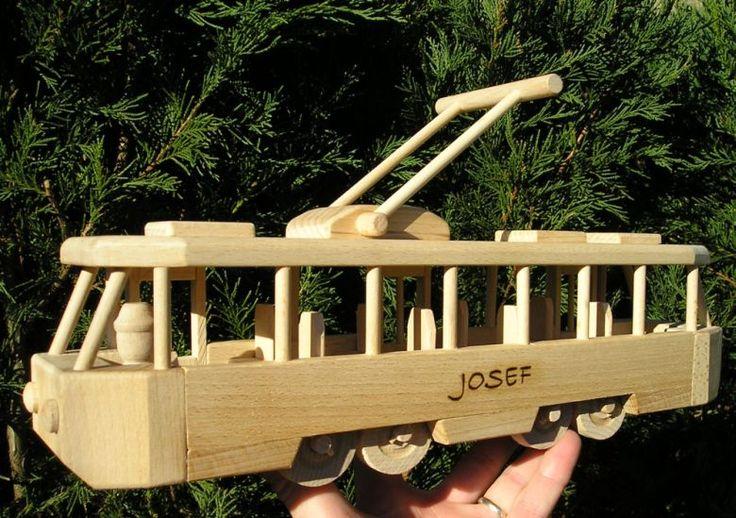Strassenbahn Spiele aus Holz mit Gravur Name