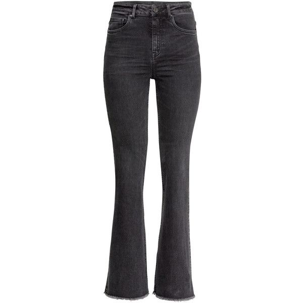 H&M Flare High Jeans (310 DKK) ❤ liked on Polyvore featuring jeans, dark grey, high rise flared jeans, highwaist jeans, h&m, flared leg jeans and flare leg jeans