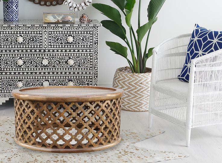 Moroccan Carved Bamileke Coffee Table In Natural - Zohi Interiors