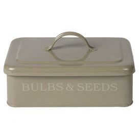 Safely store bulbs and seeds in this charming iron box, featuring typographical detailing. Team with weathered wood furniture, distressed accents and neutral tones for a rustic conservatory scheme.  Product: Bulbs and seeds boxConstruction Material: IronColour: BeigeDimensions: 12.5 cm H x 25 cm W x 19 cm D