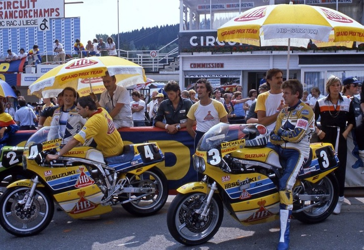 Suzuki GS1000R's before the start of the 1983 24 Heures de Liège at Francorchamps