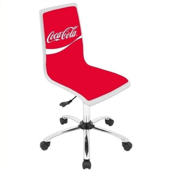 Lumisource Coca Cola Printed Office Chair ($120) ❤ liked on Polyvore featuring home, furniture, chairs, office chairs, red, red office chair, wood swivel office chair, colored office chairs, swivel desk chair and red swivel chair