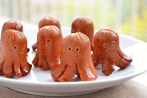 Octopus Sausages (serve with sweet Hawaiian rolls & condiments for a Halloween twist on Hot Dogs)