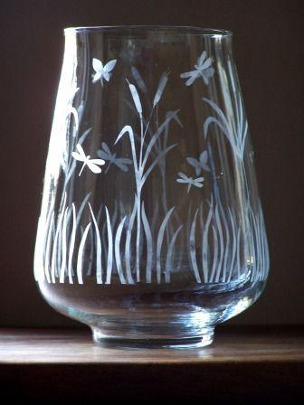 #stencil  - Vaso da fiori o portacandele decorato con fiori e libellule - @foodbookscrafts