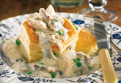 One of my favorite!! You can buy the puff pastry shells in the frozen section at the grocery store. I add carrots, fresh thyme and about a 1/4 cup of white wine to that recipe, delish!!!!!